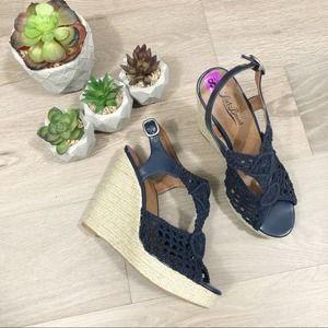 Lucky Brand Rilo Blue Crochet Wedge Sandals 8.5